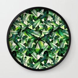 Banana leaf, tropical pattern, jungle nature, palm leaves Wall Clock