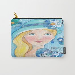 Whimiscal Girl in Blue Carry-All Pouch
