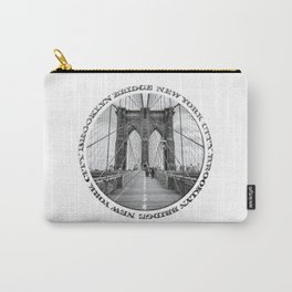 Brooklyn Bridge New York City (black & white with text) Carry-All Pouch