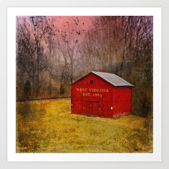 West Virginia Red Barn Art Print
