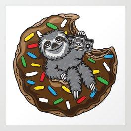 Sloth choco donut Art Print