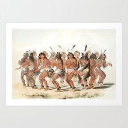The Bear Dance by George Catlin, 1845 Art Print
