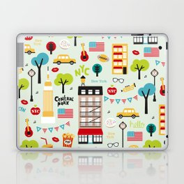 Fun New York City Manhattan travel icons life hipster pattern Laptop & iPad Skin