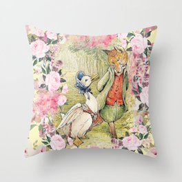Jemima Puddle-Duck Floral Throw Pillow