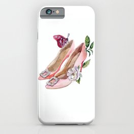 Shoes with flowers and butterfly iPhone Case