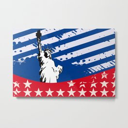 USA Flag - American Flag - Statue of Liberty - 4th July Metal Print