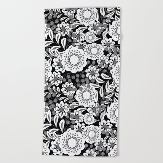 White flowers on a black background. Beach Towel