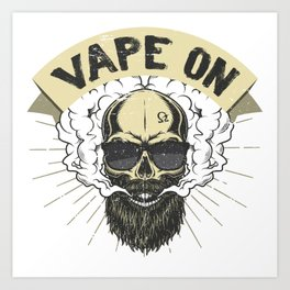 Cloud Chaser - Vaping Bearded Skull - Vape On Art Print