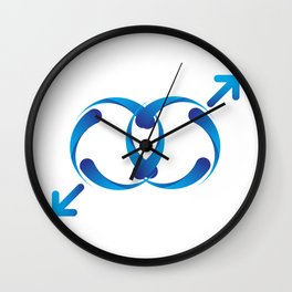 A sign for the toilet, both male  Wall Clock