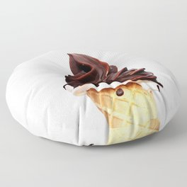 Danish soft Ice cream in a waffle cone on a white background Floor Pillow