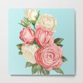 Pink Roses Vintage Metal Print