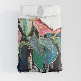 Swan Vase with Pink Lily Flower Bouquet on Dark Blue and Black Winter Floral Comforters