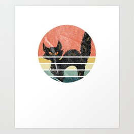 Distressed Vintage Black Cat Retro Graphic Art Cat Lover Art Print