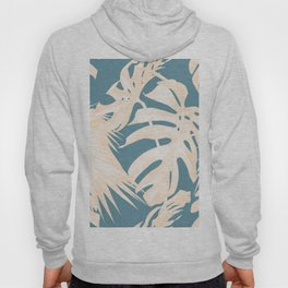 Palm Leaves Citrus on Deep Ocean Blue Hoody