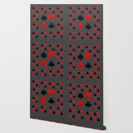 RED & BLACK PLAYING CARD  ART ON CHARCOAL GREY Wallpaper