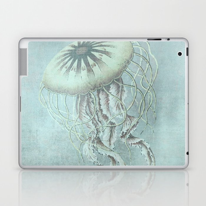 Jellyfish Underwater Aqua Turquoise Art Laptop & iPad Skin