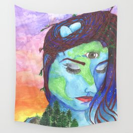 Mother Earth and a Sunset Wall Tapestry