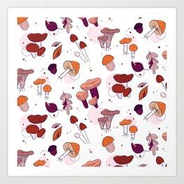 Mushrooms leaves Art Print