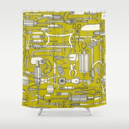 fiendish incisions chartreuse Shower Curtain