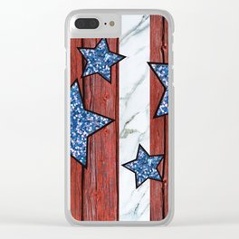 Star Spangled Stripes Clear iPhone Case