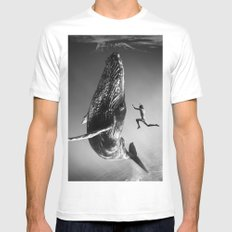 la baleine et le nageur MEDIUM White Mens Fitted Tee