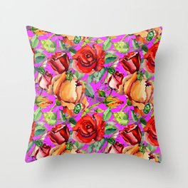 Red orange green watercolor floral roses pattern Throw Pillow
