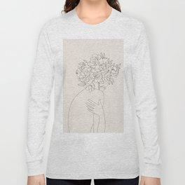 Woman with Flowers Minimal Line III Long Sleeve T-shirt
