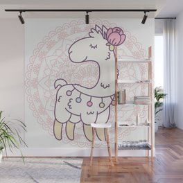 Cute white llama with a flower on its head Wall Mural