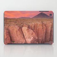 chile iPad Cases featuring II - Narrow canyon and Volcan Licancabur, Atacama Desert, Chile at sunset by Sara Winter
