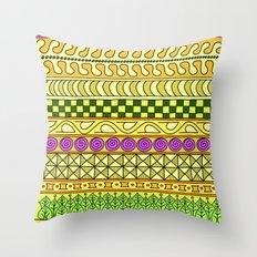 Yzor pattern 011 Yellow Things Throw Pillow