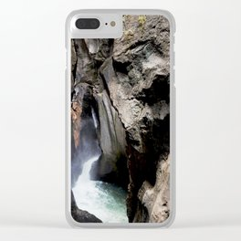 The 200-foot Rock Crevasse of Box Canyon Falls Clear iPhone Case
