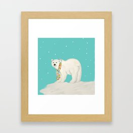 Chilly polar bear in winter Framed Art Print