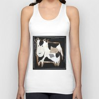 cow Tank Tops featuring cow by woman