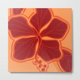 Kailua Hibiscus Hawaiian Sketchy Floral Design Metal Print
