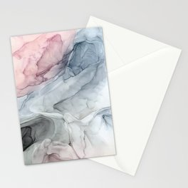 Pastel Blush, Grey and Blue Ink Clouds Painting Stationery Cards