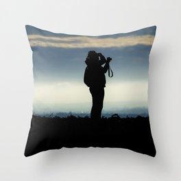 Photographer silhouette Throw Pillow