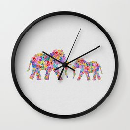 Floral Elephants Wall Clock