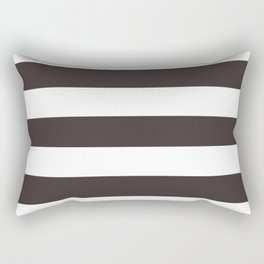 Black coffee - solid color - white stripes pattern Rectangular Pillow
