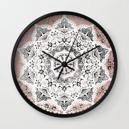 Dreamer Mandala White On Rose Gold Wall Clock