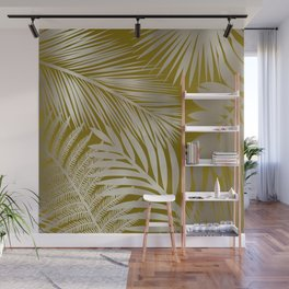 Tropical Palm Leaves, Yellow and Gold Wall Mural