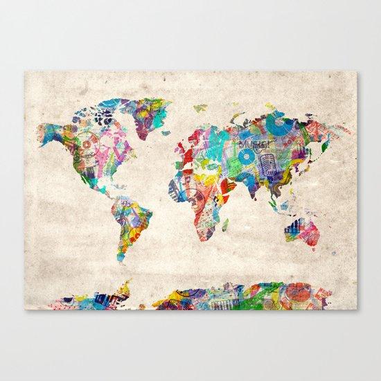 world map music art Canvas Print
