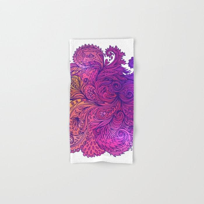 Purple Floral Indian Pattern Hand & Bath Towel