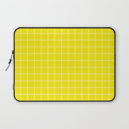 Canary yellow - yellow color - White Lines Grid Pattern Laptop Sleeve