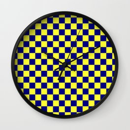 Electric Yellow and Navy Blue Checkerboard Wall Clock