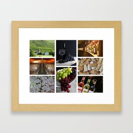 Home Bar Decor - Wine Vineyard Collage Framed Art Print