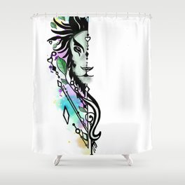 geometrical lion Shower Curtain