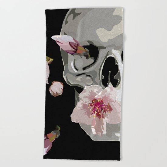"""Spring"" Skull and flowers Beach Towel"