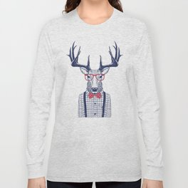 MR DEER WITH GLASSES Long Sleeve T-shirt
