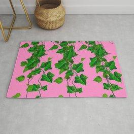 GREEN IVY HANGING LEAVES & VINES ON PINK Rug