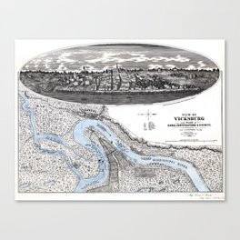 Vicksburg - Fortifications map - Mississippi - 1863 Canvas Print
